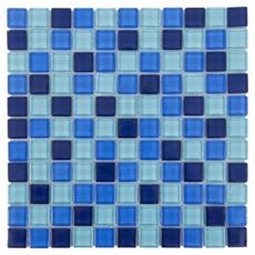 Blue Mix Square Polished Glass Mosaic
