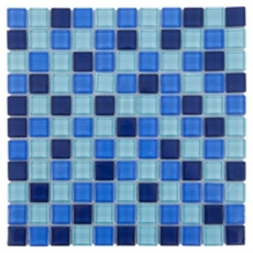 Blue Mix Square Polished Glass Mosaic