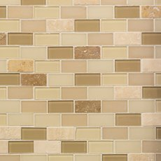 Gela 1 x 2 in. Brick Glass Mosaic