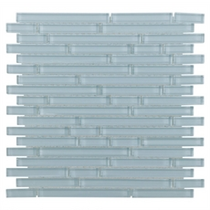 Spa Blue Shiny Stick Glass Mosaic