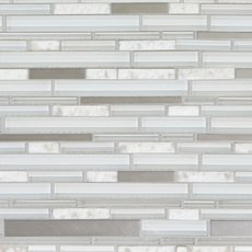 Norwegian White Stone Linear Polished Glass Mosaic