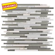 Clearance! Carisma Carrara Stick Glass Mosaic