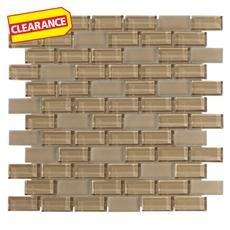 Clearance! Pure Tan Mix Brick Glass Mosaic