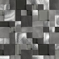Metallico Moon Pattern Metal and Glass Mosaic
