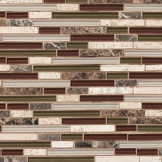 Bliss Cabernet Linear Blend Glass and Stone Mosaic