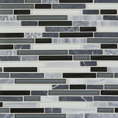 Midnight Linear Blend Glass and Stone Mosaic
