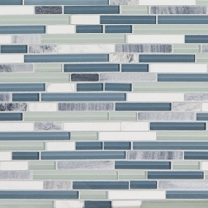 Bliss Waterfall Linear Blend Glass and Stone Mosaic