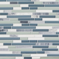 Waterfall Linear Blend Glass and Stone Mosaic