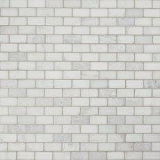 Carrara White Tumbled Brick Marble Mosaic
