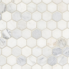 Carrara Collection White Hexagon Tumbled Marble Mosaic