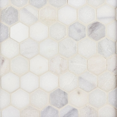 White Hexagon Tumbled Marble Mosaic