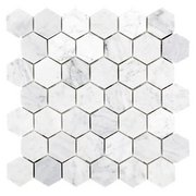 Bianco Carrara Hexagon Polished Marble Mosaic
