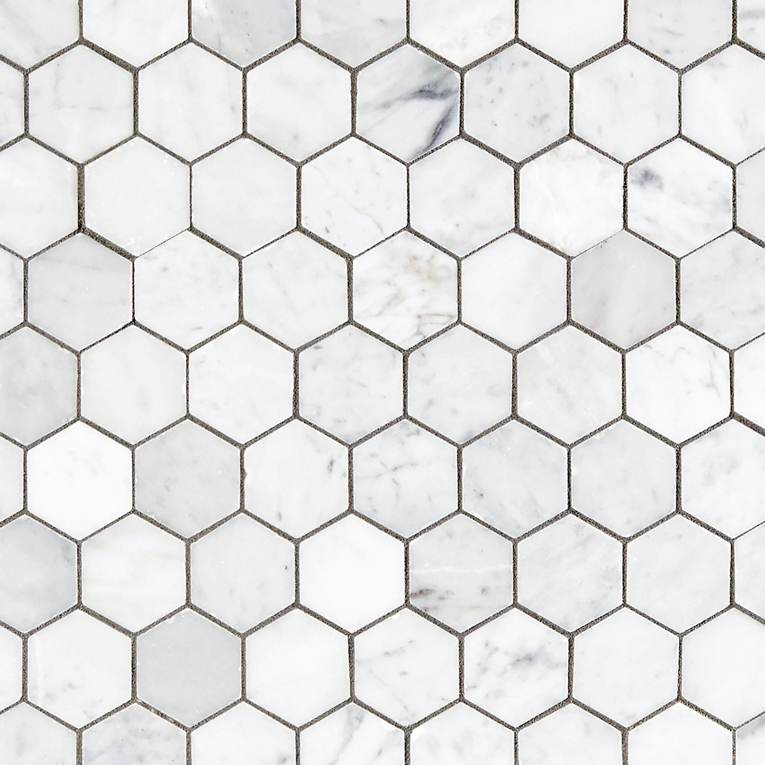 Bianco carrara hexagon polished marble mosaic 2in x 2in bianco carrara hexagon polished marble mosaic 2in x 2in 931100750 floor and decor dailygadgetfo Gallery