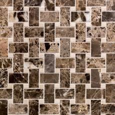 Crema Marfil and Dark Emperador Marble Mosaic