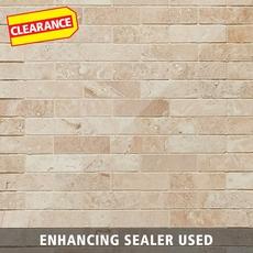 Clearance! Savona Ivory Brushed Brick Travertine Mosaic