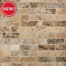 New! Argento Brushed Brick Travertine Mosaic