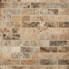 Argento Brushed Brick Travertine Mosaic