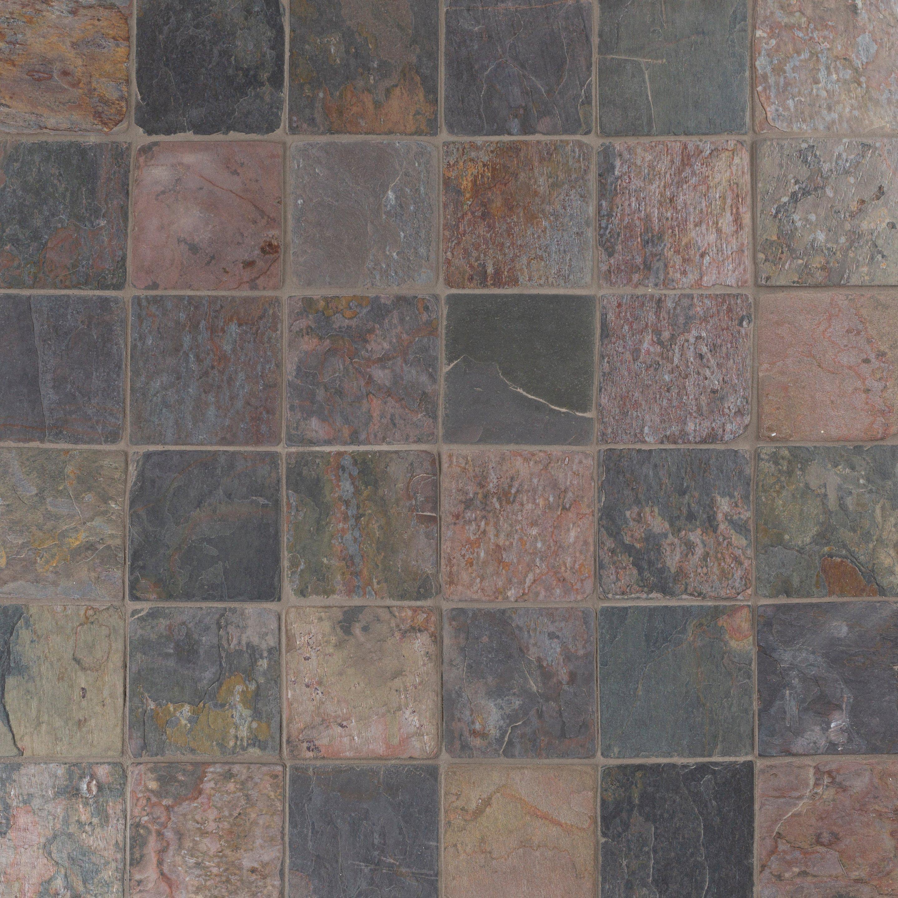 Peacock Tumbled Slate Tile 4 X 4 933100196 Floor And Decor
