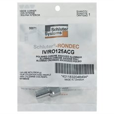 Schluter-Rondec Inside Corner for 1/2in. Polished Chrome Anodized Aluminum Rondec Profile