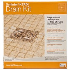 Schluter Kerdi-Drain 4in. x 4in. PVC Drain Kit in Brushed Nickel Anodized Aluminum