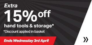 15% off hand tools and storage